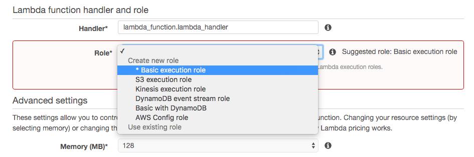 basic execution role