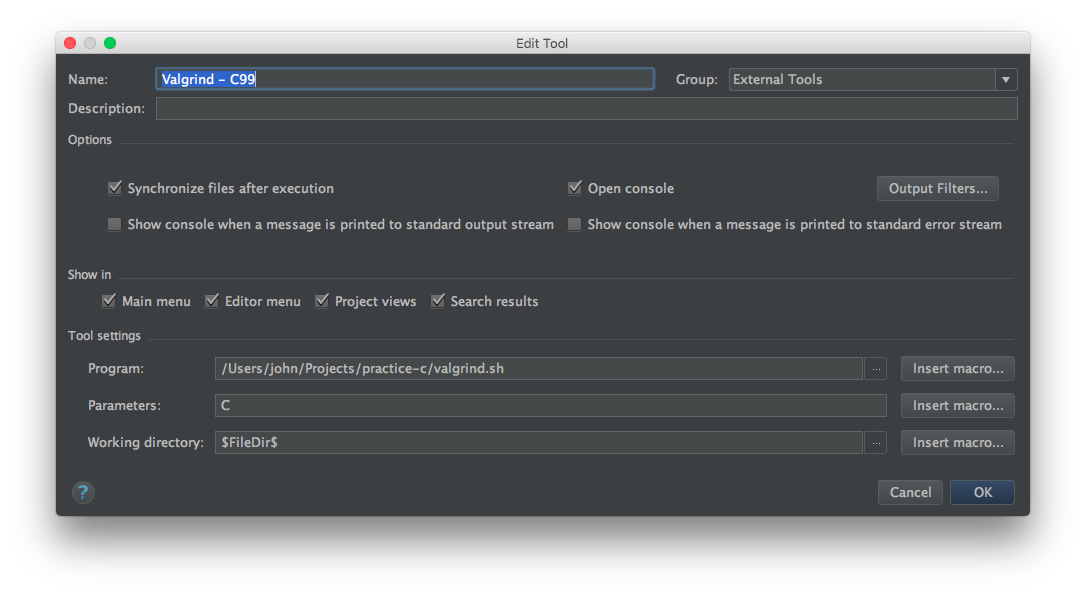 Setting up a new external tool for CLion