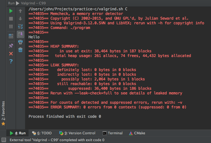 How to Run Valgrind in CLion, for C and C++ Programs