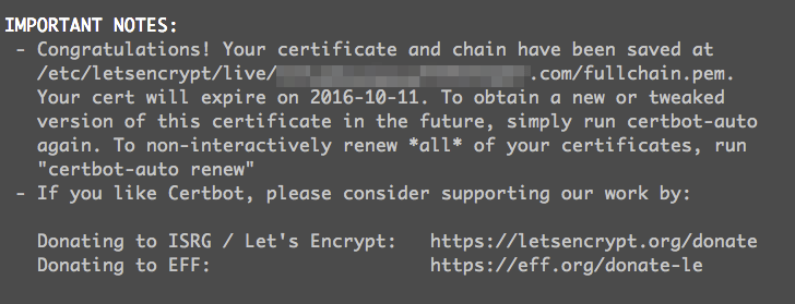 Let's Encrypt success