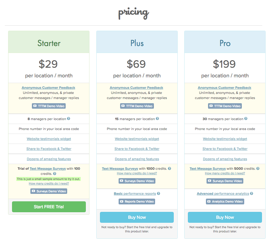 My really bad pricing page