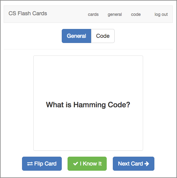 the memorization user interface of computer science flash cards