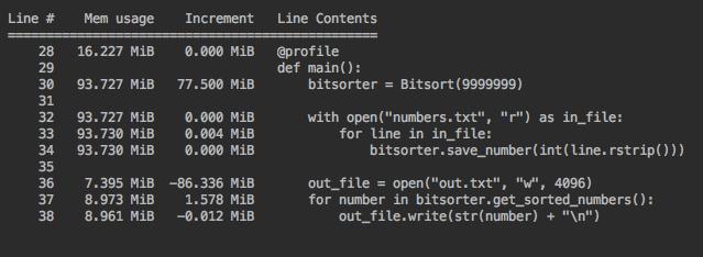 profiling bitarray implementation