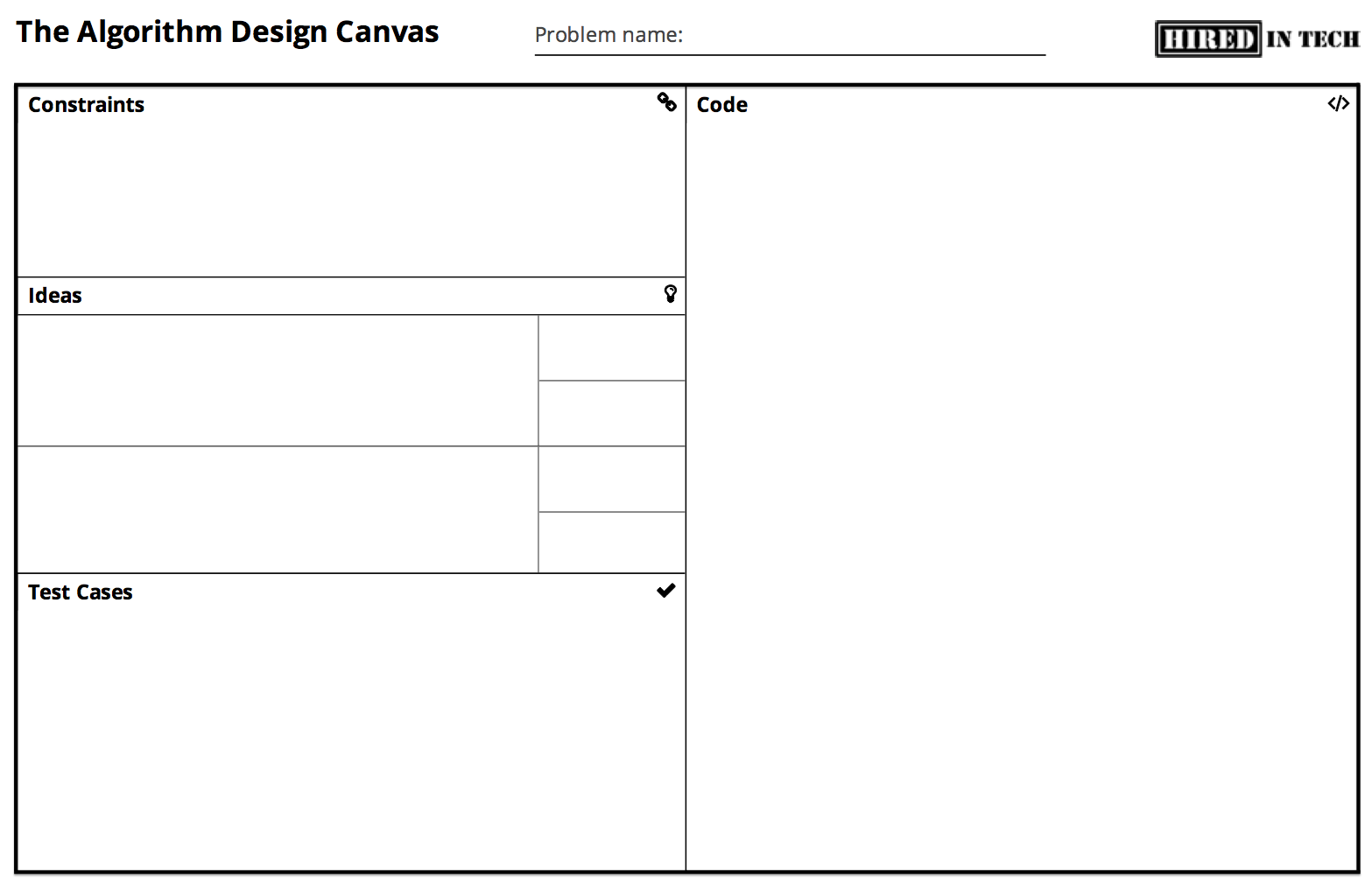 HiredInTech's Algorithm Design Canvas