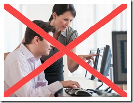 Don't use photos of people pointing at computers