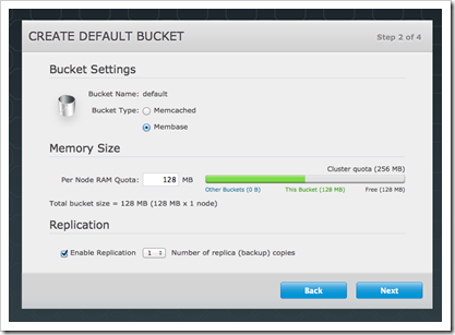 Membase setup: create default bucket